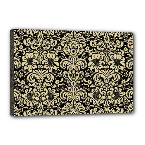Damask2 Black Marble & Light Sand Canvas 18  X 12  by trendistuff