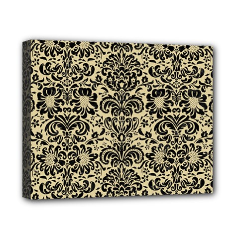 Damask2 Black Marble & Light Sand (r) Canvas 10  X 8  by trendistuff