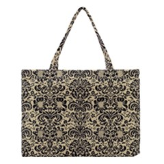 Damask2 Black Marble & Light Sand (r) Medium Tote Bag by trendistuff