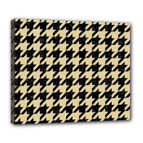 Houndstooth1 Black Marble & Light Sand Deluxe Canvas 24  X 20   by trendistuff