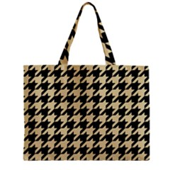 Houndstooth1 Black Marble & Light Sand Zipper Mini Tote Bag by trendistuff