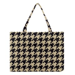 Houndstooth1 Black Marble & Light Sand Medium Tote Bag by trendistuff