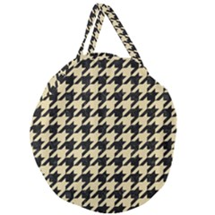 Houndstooth1 Black Marble & Light Sand Giant Round Zipper Tote by trendistuff
