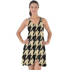 Houndstooth1 Black Marble & Light Sand Show Some Back Chiffon Dress by trendistuff