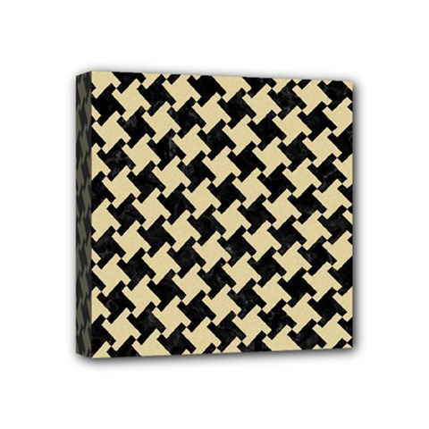 Houndstooth2 Black Marble & Light Sand Mini Canvas 4  X 4  by trendistuff