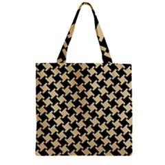 Houndstooth2 Black Marble & Light Sand Zipper Grocery Tote Bag by trendistuff