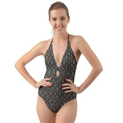 Hexagon1 Black Marble & Light Sand Halter Cut Out One Piece Swimsuit