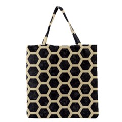 Hexagon2 Black Marble & Light Sand Grocery Tote Bag by trendistuff