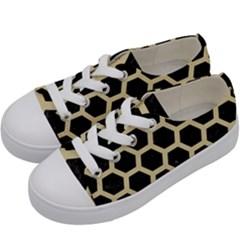 Hexagon2 Black Marble & Light Sand Kids  Low Top Canvas Sneakers by trendistuff