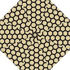 Hexagon2 Black Marble & Light Sand (r) Folding Umbrellas by trendistuff
