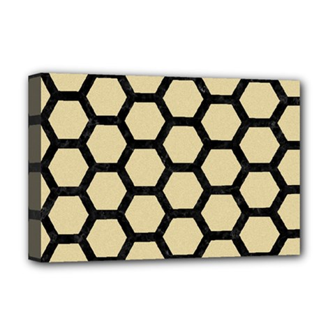 Hexagon2 Black Marble & Light Sand (r) Deluxe Canvas 18  X 12   by trendistuff