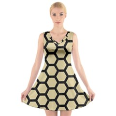 Hexagon2 Black Marble & Light Sand (r) V Neck Sleeveless Skater Dress