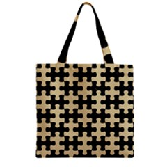 Puzzle1 Black Marble & Light Sand Zipper Grocery Tote Bag by trendistuff