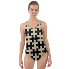 Puzzle1 Black Marble & Light Sand Cut Out Back One Piece Swimsuit