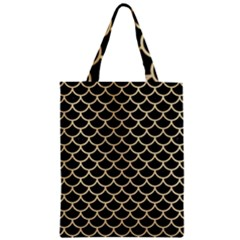 Scales1 Black Marble & Light Sand Zipper Classic Tote Bag by trendistuff