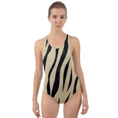 Skin3 Black Marble & Light Sand (r) Cut Out Back One Piece Swimsuit