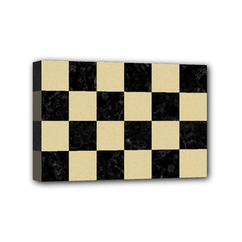 Square1 Black Marble & Light Sand Mini Canvas 6  X 4  by trendistuff