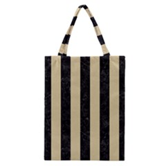 Stripes1 Black Marble & Light Sand Classic Tote Bag by trendistuff