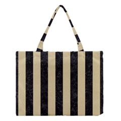 Stripes1 Black Marble & Light Sand Medium Tote Bag by trendistuff