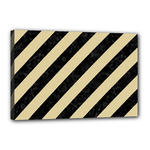 Stripes3 Black Marble & Light Sand Canvas 18  X 12  by trendistuff