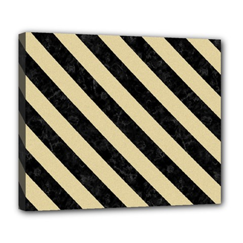 Stripes3 Black Marble & Light Sand (r) Deluxe Canvas 24  X 20   by trendistuff
