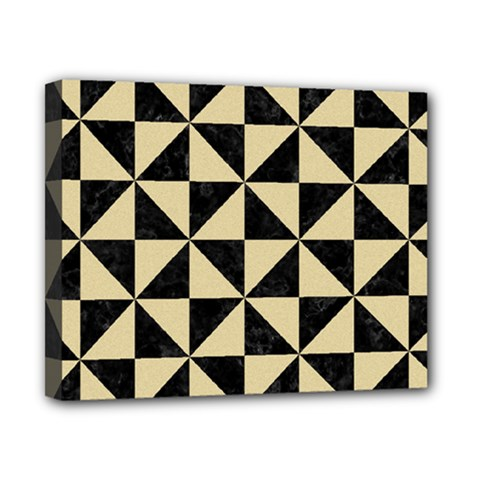 Triangle1 Black Marble & Light Sand Canvas 10  X 8  by trendistuff