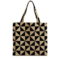 Triangle1 Black Marble & Light Sand Zipper Grocery Tote Bag by trendistuff