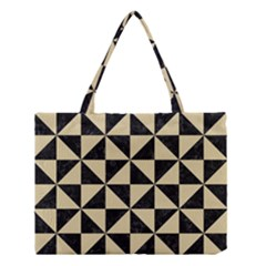 Triangle1 Black Marble & Light Sand Medium Tote Bag by trendistuff