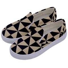Triangle1 Black Marble & Light Sand Kids  Canvas Slip Ons by trendistuff