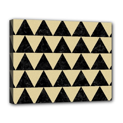 Triangle2 Black Marble & Light Sand Canvas 14  X 11  by trendistuff