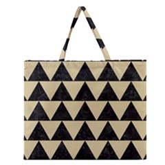 Triangle2 Black Marble & Light Sand Zipper Large Tote Bag by trendistuff