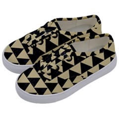Triangle2 Black Marble & Light Sand Kids  Classic Low Top Sneakers by trendistuff