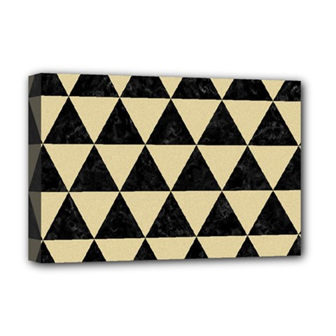 Triangle3 Black Marble & Light Sand Deluxe Canvas 18  X 12   by trendistuff