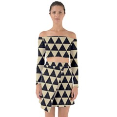 Triangle3 Black Marble & Light Sand Off Shoulder Top With Skirt Set