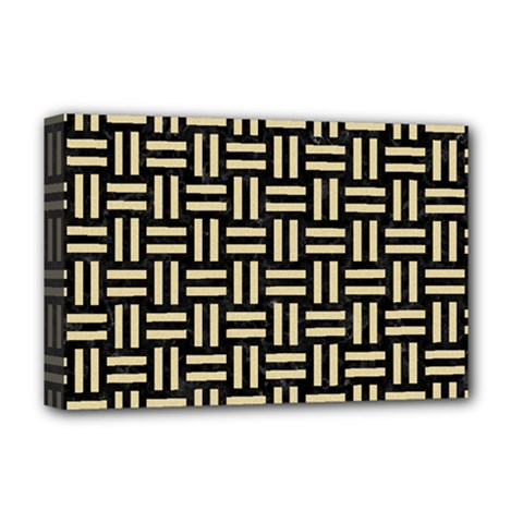 Woven1 Black Marble & Light Sand Deluxe Canvas 18  X 12   by trendistuff