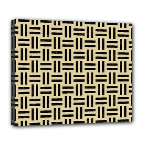 Woven1 Black Marble & Light Sand (r) Deluxe Canvas 24  X 20   by trendistuff