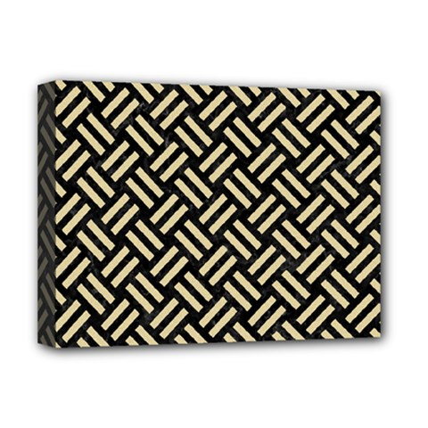 Woven2 Black Marble & Light Sand Deluxe Canvas 16  X 12   by trendistuff
