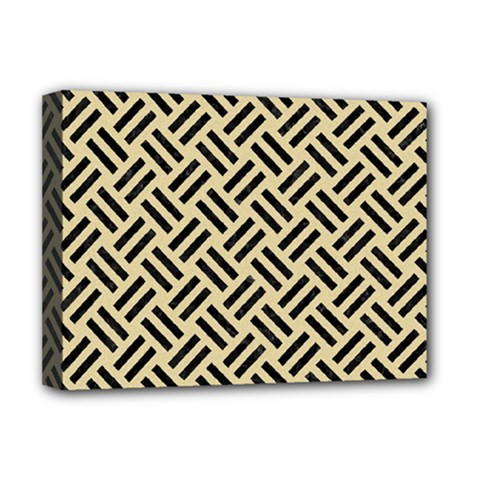 Woven2 Black Marble & Light Sand (r) Deluxe Canvas 16  X 12   by trendistuff