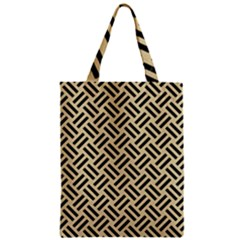 Woven2 Black Marble & Light Sand (r) Zipper Classic Tote Bag by trendistuff
