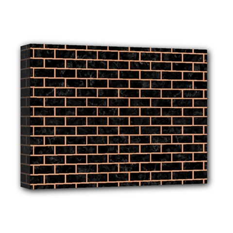 Brick1 Black Marble & Natural Red Birch Wood Deluxe Canvas 16  X 12   by trendistuff