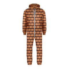 Brick1 Black Marble & Natural Red Birch Wood (r) Hooded Jumpsuit (kids)