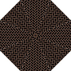 Brick2 Black Marble & Natural Red Birch Wood Folding Umbrellas by trendistuff
