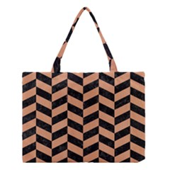 Chevron1 Black Marble & Natural Red Birch Wood Medium Tote Bag by trendistuff