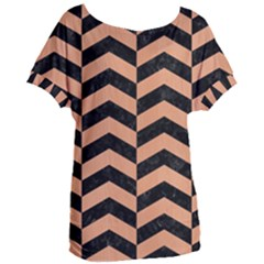Chevron2 Black Marble & Natural Red Birch Wood Women s Oversized Tee