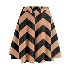 Chevron2 Black Marble & Natural Red Birch Wood High Waist Skirt by trendistuff