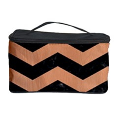 Chevron3 Black Marble & Natural Red Birch Wood Cosmetic Storage Case by trendistuff