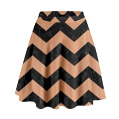 Chevron3 Black Marble & Natural Red Birch Wood High Waist Skirt by trendistuff