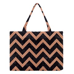 Chevron9 Black Marble & Natural Red Birch Wood Medium Tote Bag by trendistuff