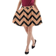 Chevron9 Black Marble & Natural Red Birch Wood (r) A Line Pocket Skirt by trendistuff