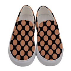 Circles2 Black Marble & Natural Red Birch Wood Women s Canvas Slip Ons